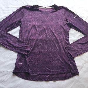 Nike Dri-Fit Purple Patterned Running Shirt M